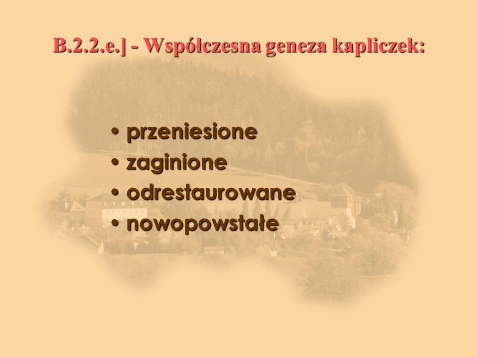 B.2.2.e.] - Współczesna geneza kapliczek: